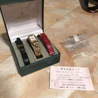 Gucci vintage石英錶 三個錶帶