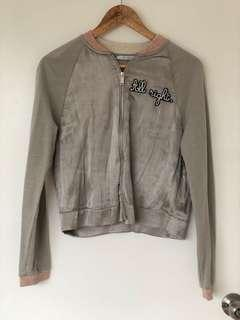 Zara Trafaluc Grey Satin Jacket (S)