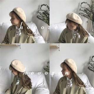 米杏色 韓國 可愛百搭羊毛貝雷帽英倫蓓蕾畫家帽子 #衣櫃大掃除