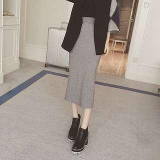 麻灰色微厚棉長裙 窄裙 #衣櫃大掃除