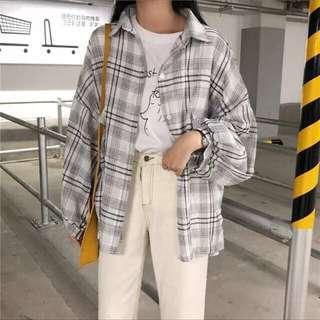 白色格紋泡泡袖寬袖長版寬鬆襯衫外套 #衣櫃大掃除