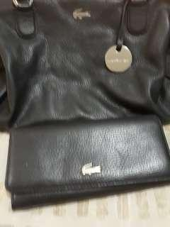 original lacost dr bag black with matching wallet