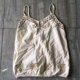 White Embroidery Singlet