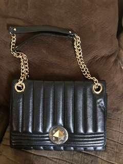 KATE SPADE Quilted Black Leather Chain shoulder bag