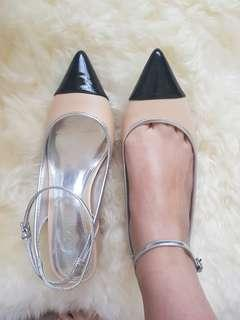 Zara nude low heels ankle strap size 37