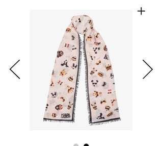 🚚 新貨到正櫃全新卡爾圍巾#chanel首席設計師#老佛爺Q版