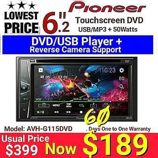 """Lowest Pioneer DVD/MP3/4 6.2"""" Touchscreen + 7 Band Equalizer Head Unit with Reverse Camera Support Ready. (model AVH-G115DVD) Usual Price :$399 Special: $189 + 60 days one to one exchange warranty."""