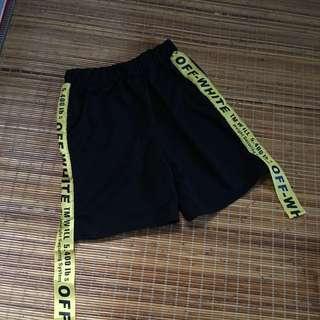🚚 黑色原宿風緞帶褲子短褲