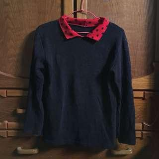 🚚 日系毛衣紅領毛衣