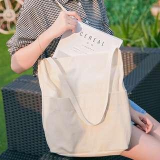 Double Pocket Canvas Tote Bag