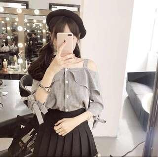 附實拍!近全新!韓國甜美格子一字領翻領小衫排扣衫黑白格子袖口綁帶蝴蝶結七分袖上衣