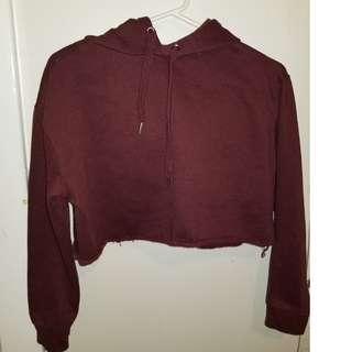 Cropped Hoodie - Blue Note - Burgundy - Size S