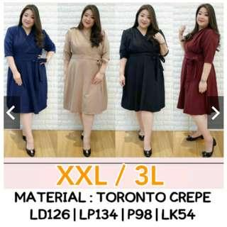 Dress Elegan Jumbo XXL XXXL Merah, Hitam, Mocca, Navy