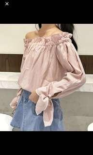 BNWT pink checkered ribbon sleeve off shoulder top