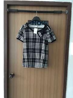 Checkered black & white top