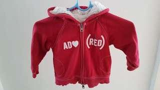 🚚 Gap red hooded jacket. Size 3.
