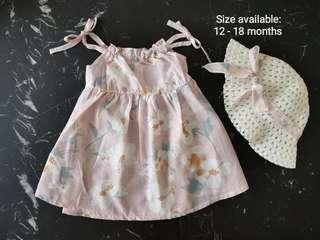 Beach collection baby girl dress comes with cute hat in one set