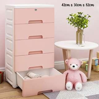 INSTOCK 5 layer w lock plastic drawer Pink