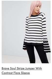 BNWT BRAVE SOUL striped jumper with contrast flare sleeves. S