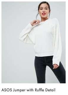 BNWT ASOS Jumper with ruffle detail - S