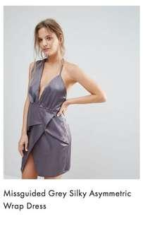 BNWT Missguided Grey silky Asymmetric Wrap dress