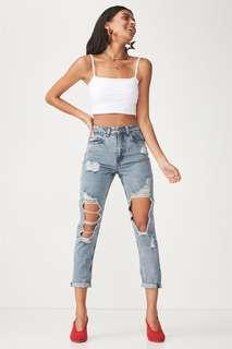 Supre Cool Mom Ultra Destroyed Ripped Jeans