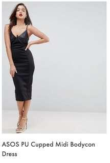 BNWT - ASOS PU Cupped Midi Bodicon Dress