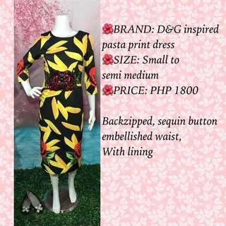 D&G inspired pasta print embellished dress