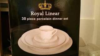 Royal linear 30pc porcelain dinner set