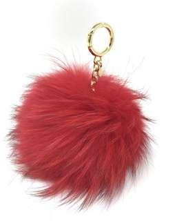 Michael Kors Large Pom Pom Fur Key Ring Charm Bright Red