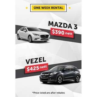 1 week rental from as low as $390 per week!