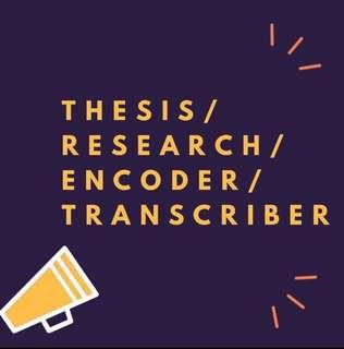 THESIS / RESEARCH / ACADEMIC SERVICE