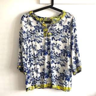 (Fits M-L) BN Enro Size XL Blue Oriental Flower on White  3/4 Sleeve Blouse Top @sunwalker