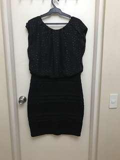 XL Miss Couture Black Sequined Bondage Dress