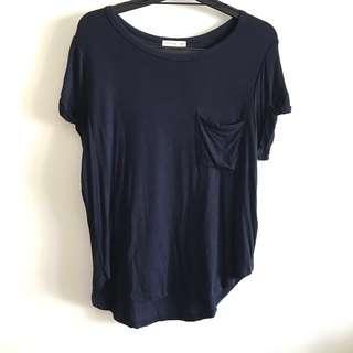 NEW Cotton On Size M Navy Viscose Loose Fit Short Sleeve Tee T Shirt Top @sunwalker