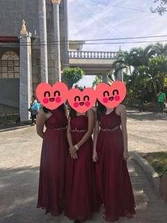 Burgundy Bridesmaid Gown