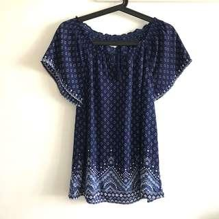 Size 10 (fits S to M) Navy Blue Printed Chiffon Peasant Blouse Top @sunwalker