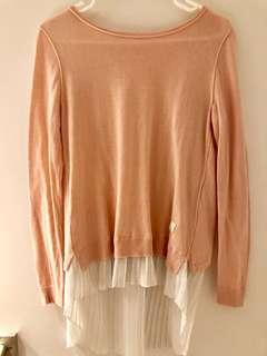 Salmon pink sweater with shirt detail