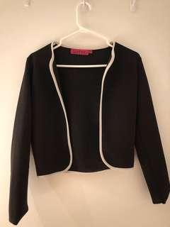 Black crop cardigan with white trim