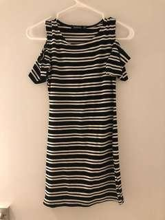 Striped dress with open shoulder