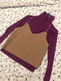 Slit brown top