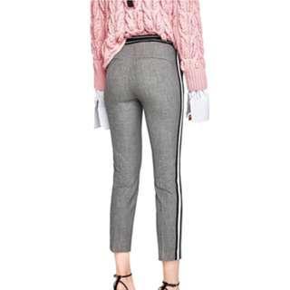 Zara Grey Striped Pants/Trousers
