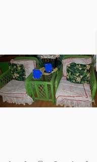 5PC Complete Rattan sala set with center and side table..