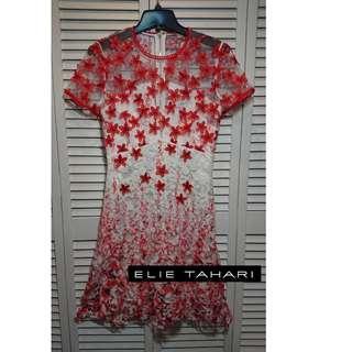 全新美國高級時尚品牌ELIE TAHARI蕾絲雙層A字小性感全短袖洋裝(原價698美金)