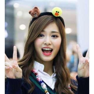 🚚 LINE FRIENDS 熊大x莎莉 臥姿玩偶髮箍 髮圈 髮飾 韓國女團TWICE周子瑜同款