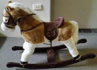 New Ex Demo Wooden Fur Rocking Pony Horse Gr8