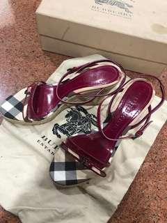 Burberry Check Espadrille Wedge Sandals