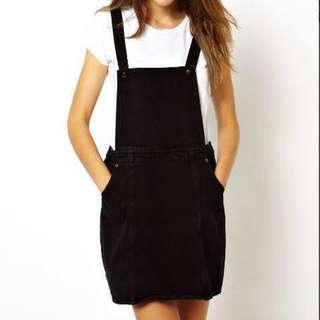 Monki Black Denim Pinafore