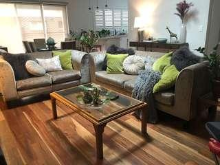 Grey Sofa 2 + 3 seater set. Good condition. Under a year old.