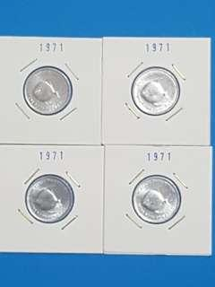 LOT OF 4 PCS 1971 5 CTS, FAO, ALUMINIUM, UNC